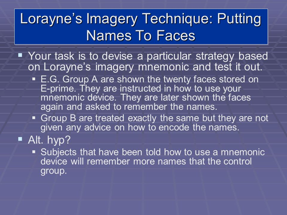 Lorayne's Imagery Technique: Putting Names To Faces
