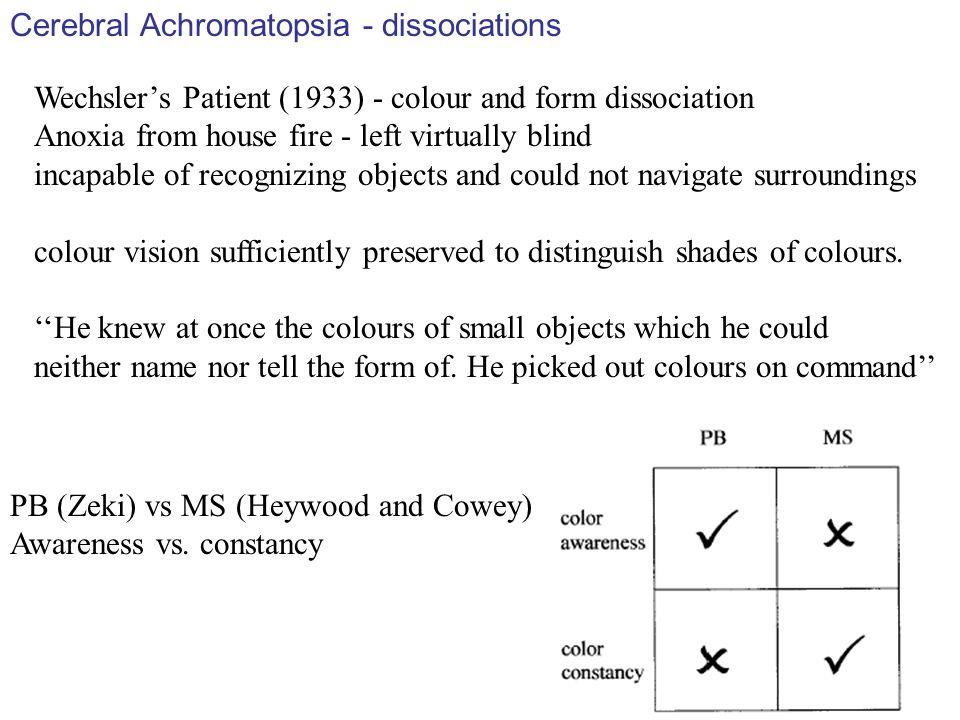 Cerebral Achromatopsia - dissociations