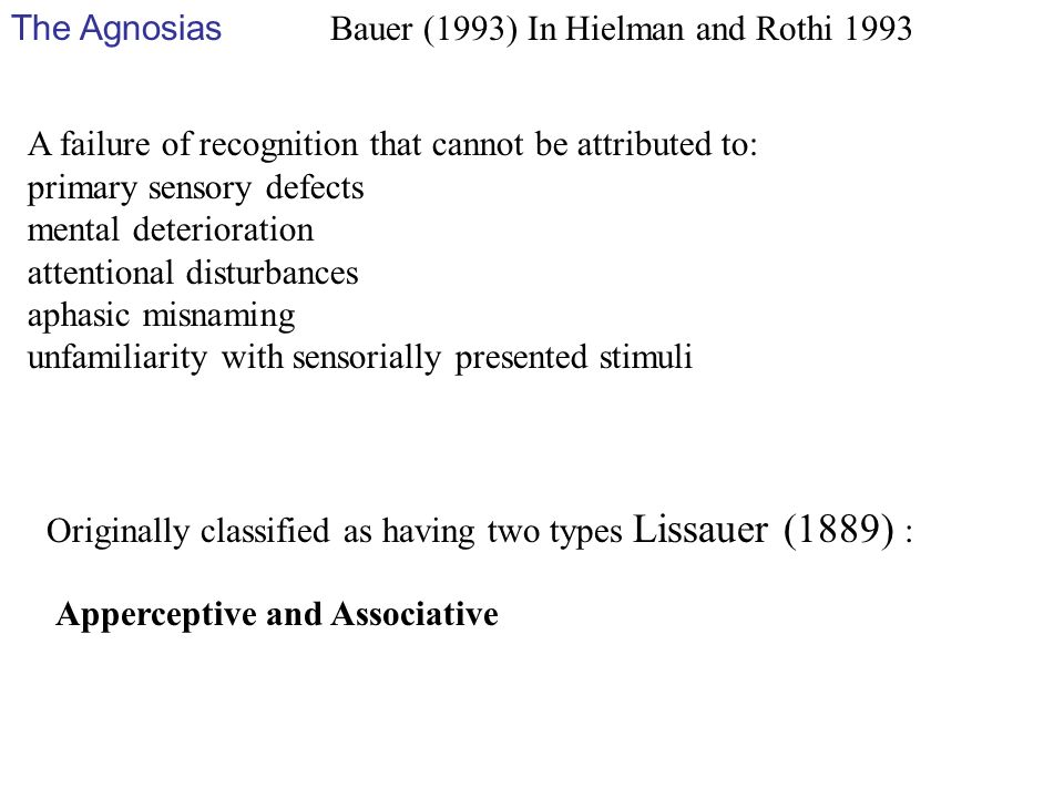The Agnosias Bauer (1993) In Hielman and Rothi 1993. A failure of recognition that cannot be attributed to: