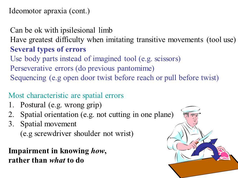 Ideomotor apraxia (cont.)