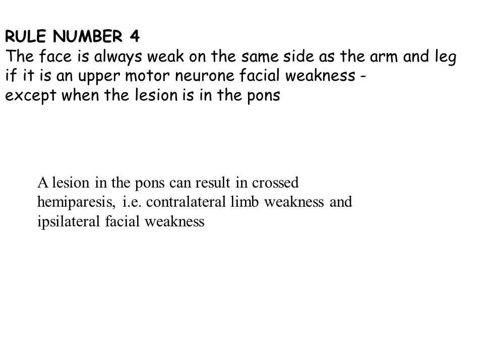 Perhaps shall Left lower motor neuron facial weakness remarkable