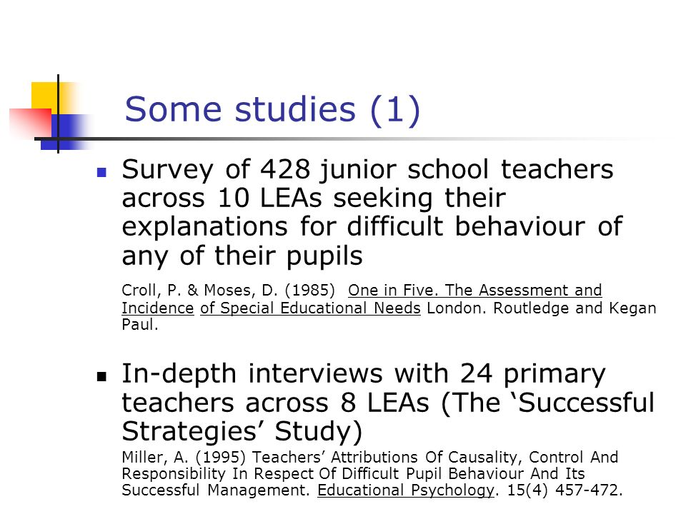 Some studies (1) Survey of 428 junior school teachers across 10 LEAs seeking their explanations for difficult behaviour of any of their pupils.