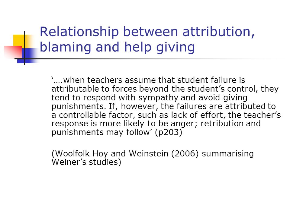 Relationship between attribution, blaming and help giving