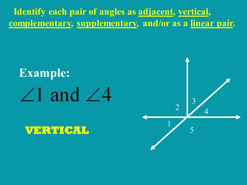 Identify each pair of angles as adjacent, vertical, complementary, supplementary, and/or as a linear pair.