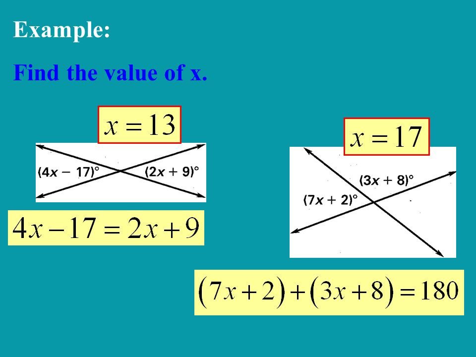 Example: Find the value of x.