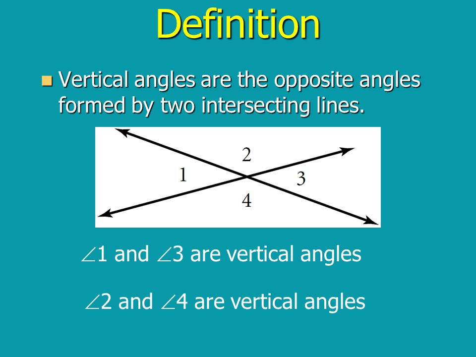 Definition Vertical angles are the opposite angles formed by two intersecting lines. 1 and 3 are vertical angles.