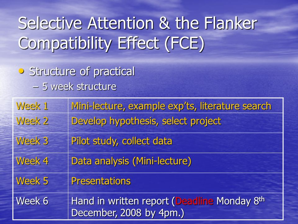 Selective Attention & the Flanker Compatibility Effect (FCE)