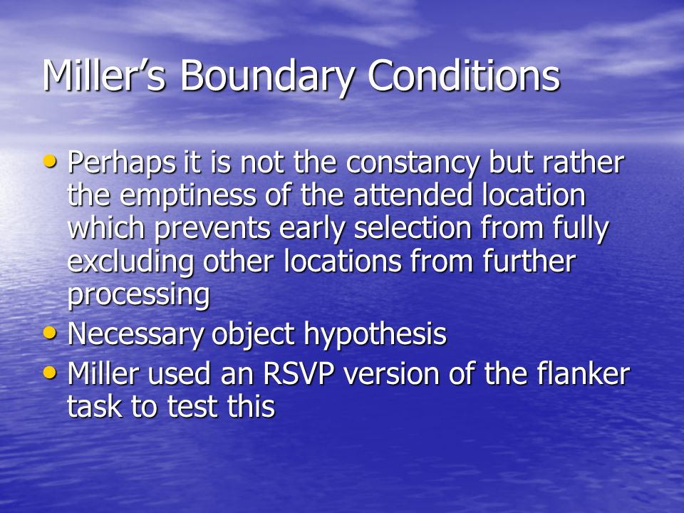 Miller's Boundary Conditions