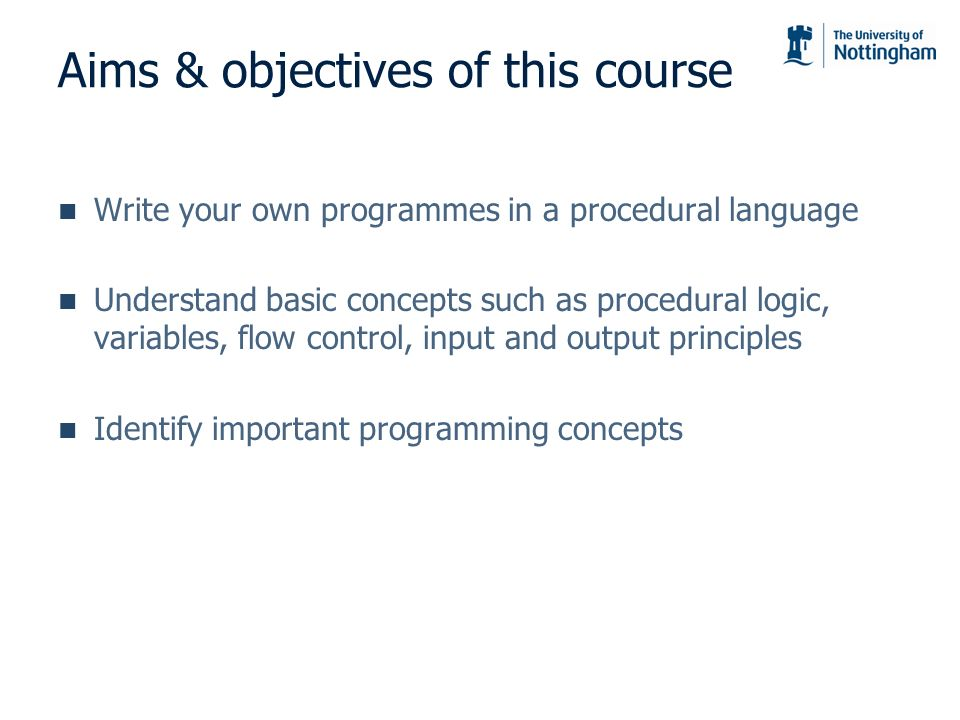 Aims & objectives of this course