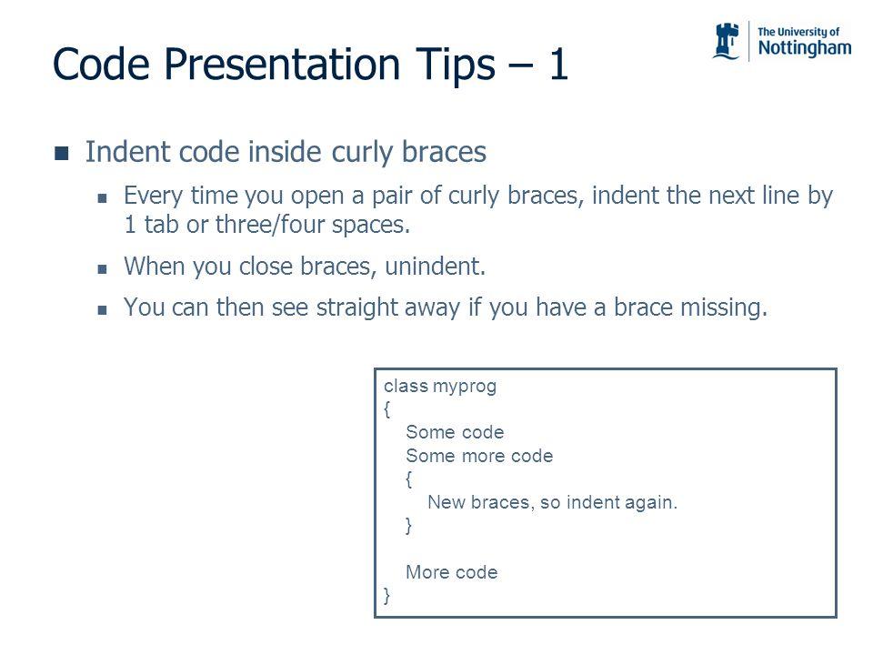 Code Presentation Tips – 1