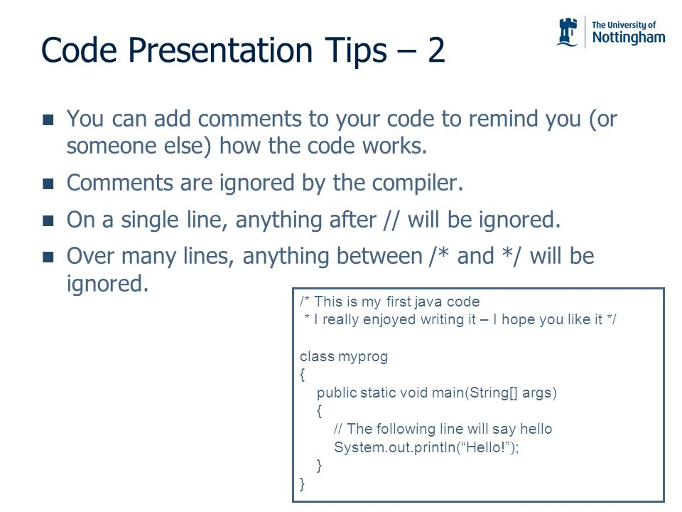 Code Presentation Tips – 2