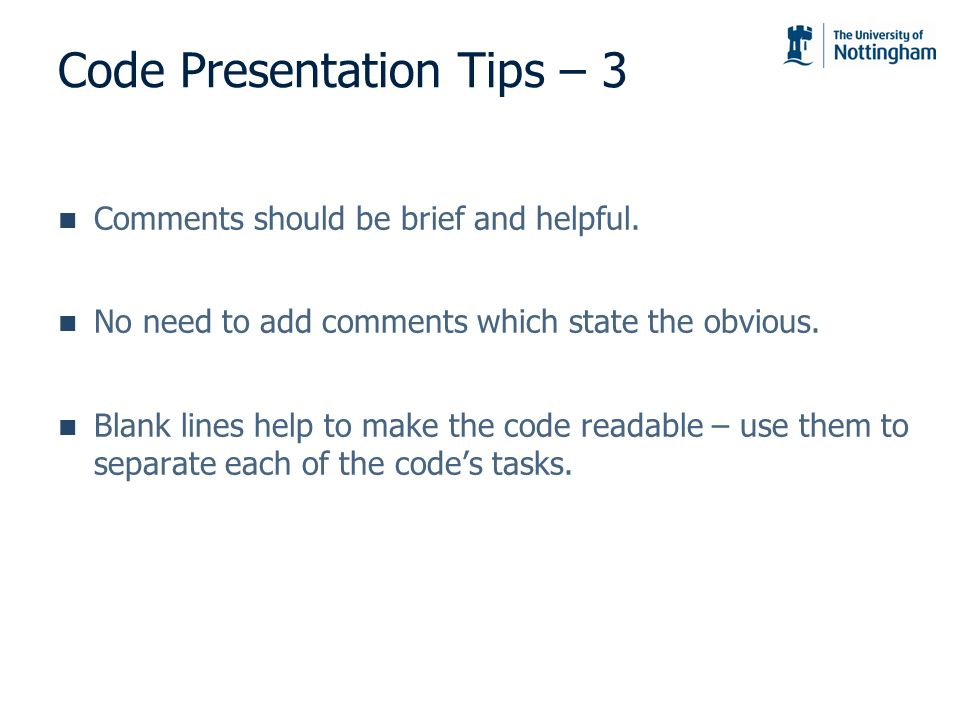 Code Presentation Tips – 3