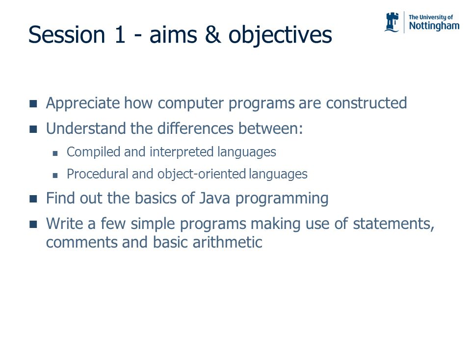 Session 1 - aims & objectives