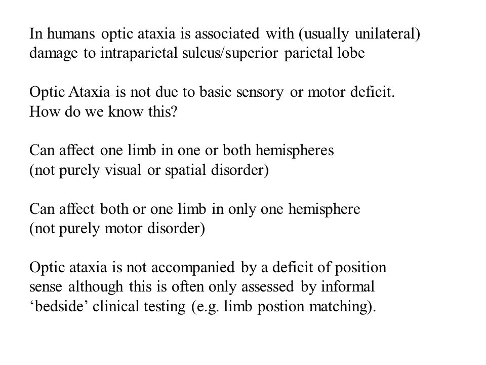 In humans optic ataxia is associated with (usually unilateral) damage to intraparietal sulcus/superior parietal lobe