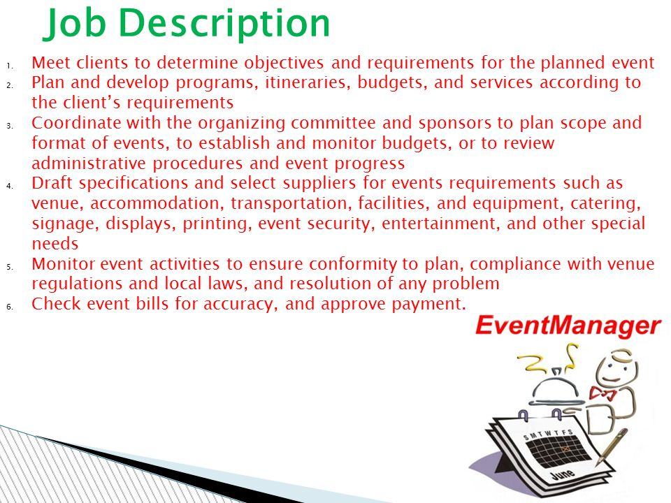 THE EVENT MANAGER. - ppt download