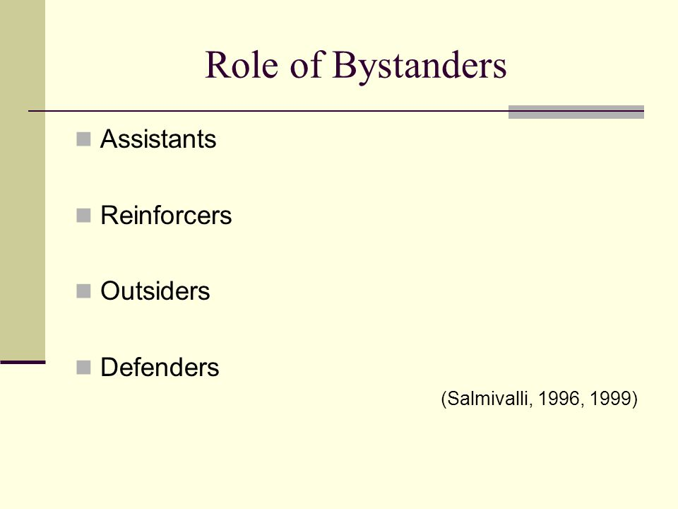 Role of Bystanders Assistants Reinforcers Outsiders Defenders