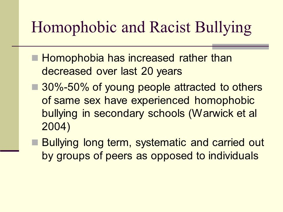 Homophobic and Racist Bullying
