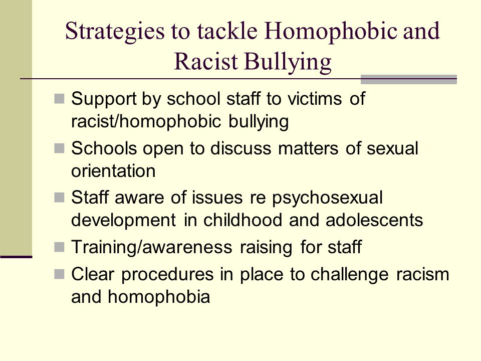 Strategies to tackle Homophobic and Racist Bullying