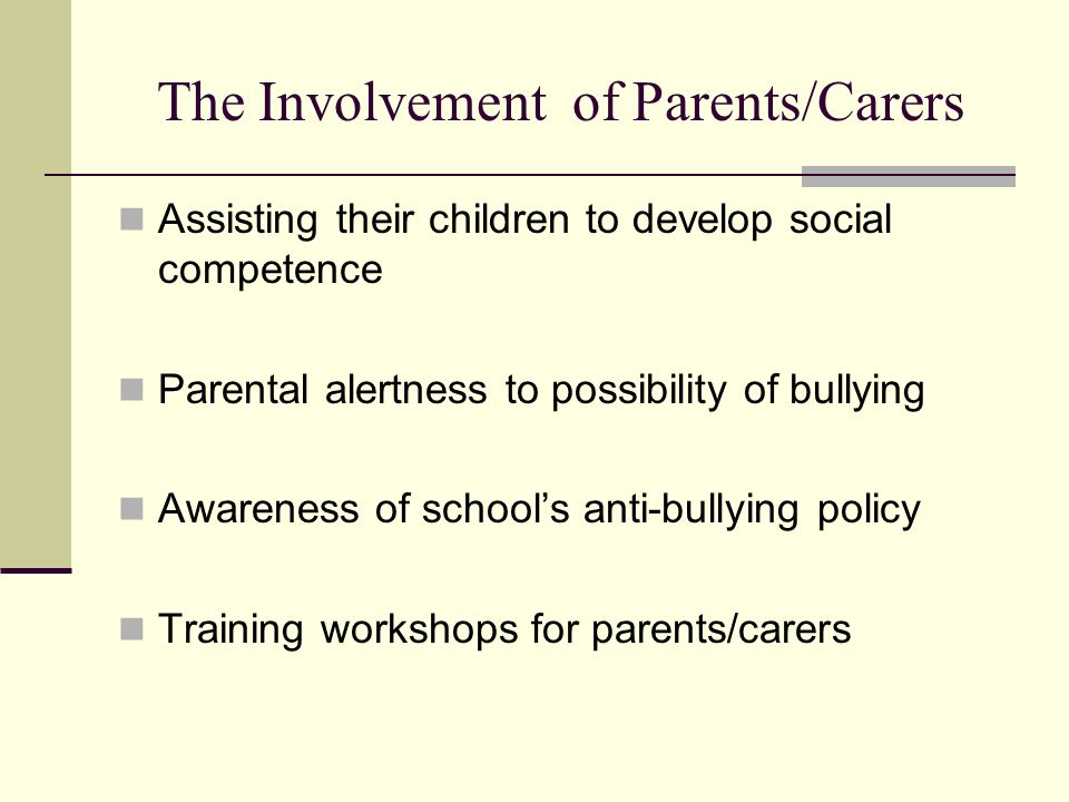 The Involvement of Parents/Carers