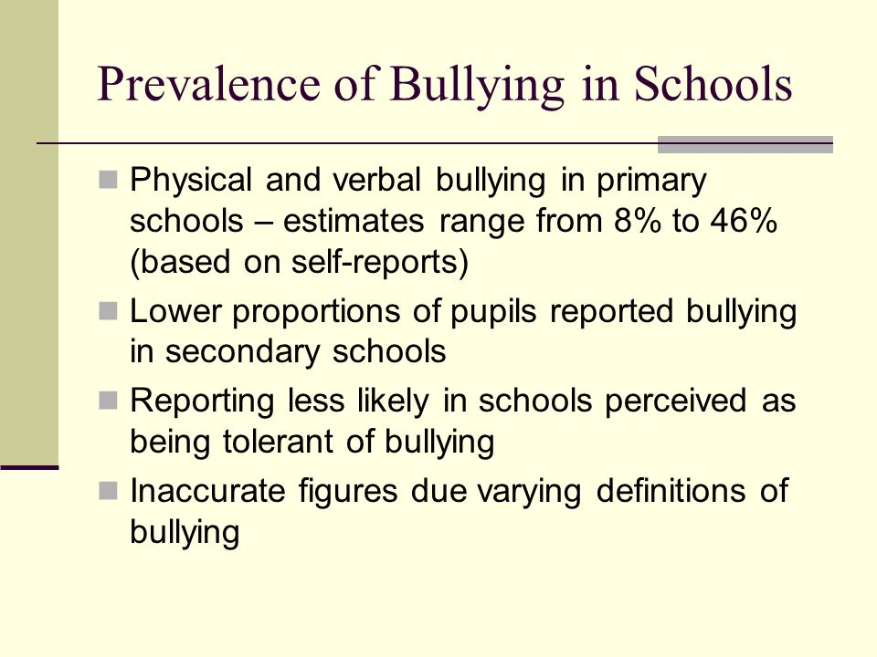 Prevalence of Bullying in Schools