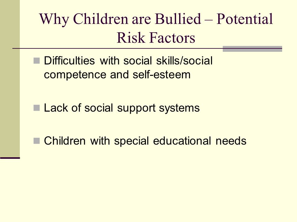 Why Children are Bullied – Potential Risk Factors