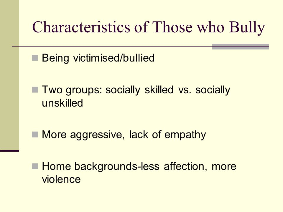 Characteristics of Those who Bully