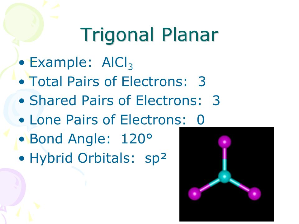 Trigonal Planar Example: AlCl3 Total Pairs of Electrons: 3