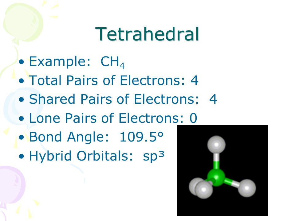 Tetrahedral Example: CH4 Total Pairs of Electrons: 4