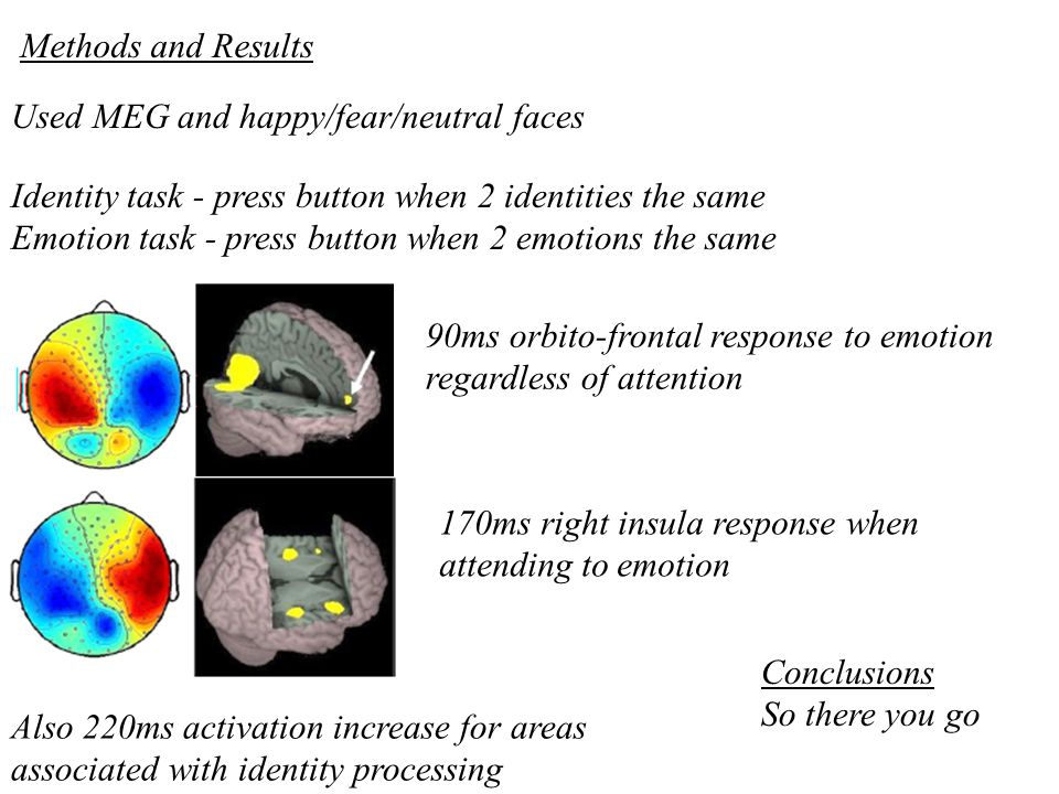 Methods and Results Used MEG and happy/fear/neutral faces. Identity task - press button when 2 identities the same.