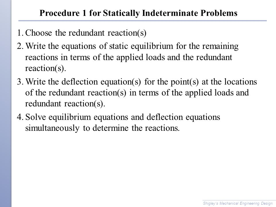 how to solve statically indeterminate problems