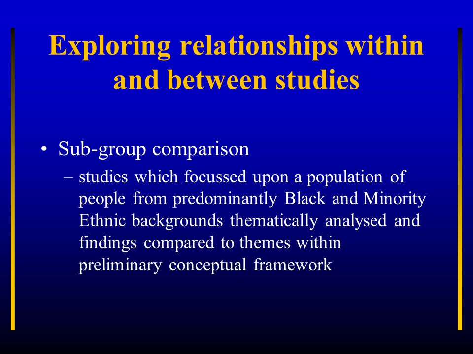 Exploring relationships within and between studies