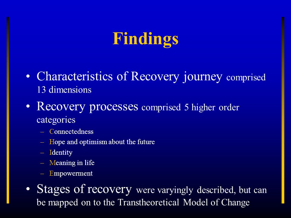 Findings Characteristics of Recovery journey comprised 13 dimensions