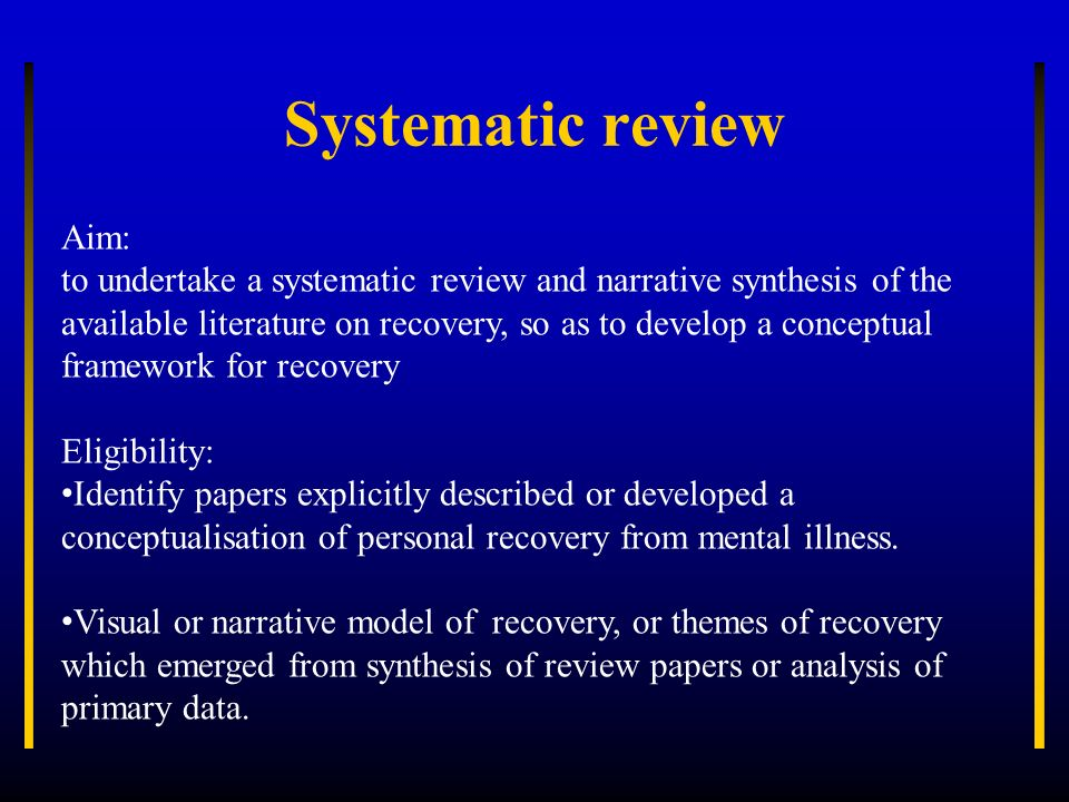 Systematic review Aim: