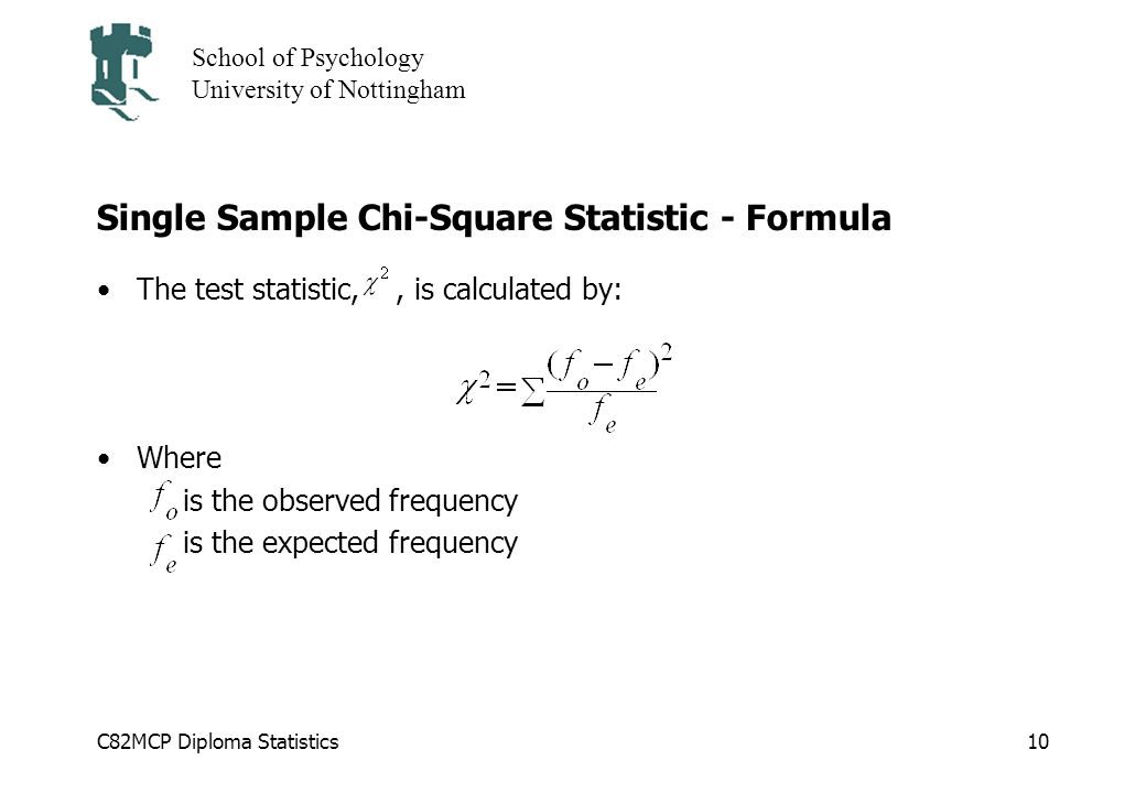 Single Sample Chi-Square Statistic - Formula