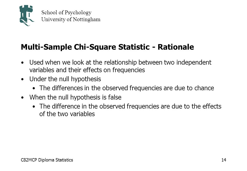 Multi-Sample Chi-Square Statistic - Rationale