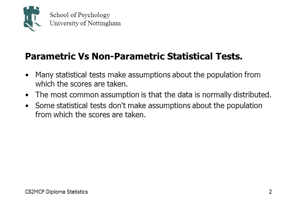 Parametric Vs Non-Parametric Statistical Tests.