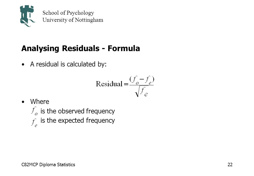 Analysing Residuals - Formula