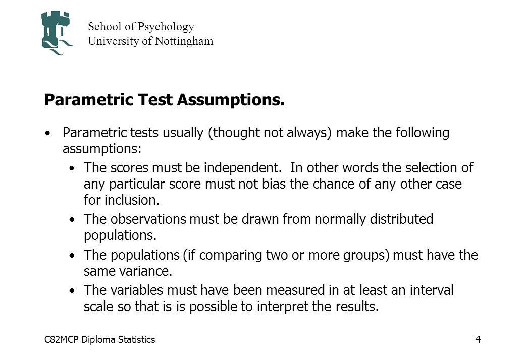 Parametric Test Assumptions.