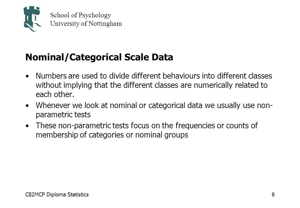 Nominal/Categorical Scale Data