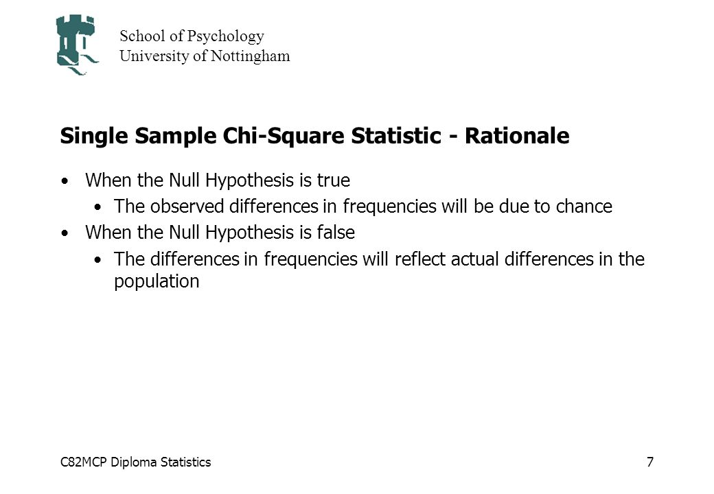 Single Sample Chi-Square Statistic - Rationale