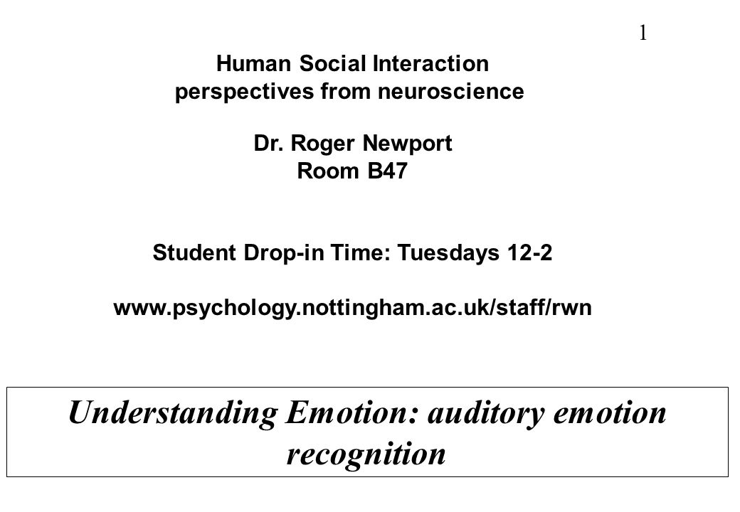 Understanding Emotion: auditory emotion recognition