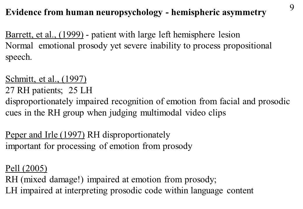 9 Evidence from human neuropsychology - hemispheric asymmetry. Barrett, et al., (1999) - patient with large left hemisphere lesion.
