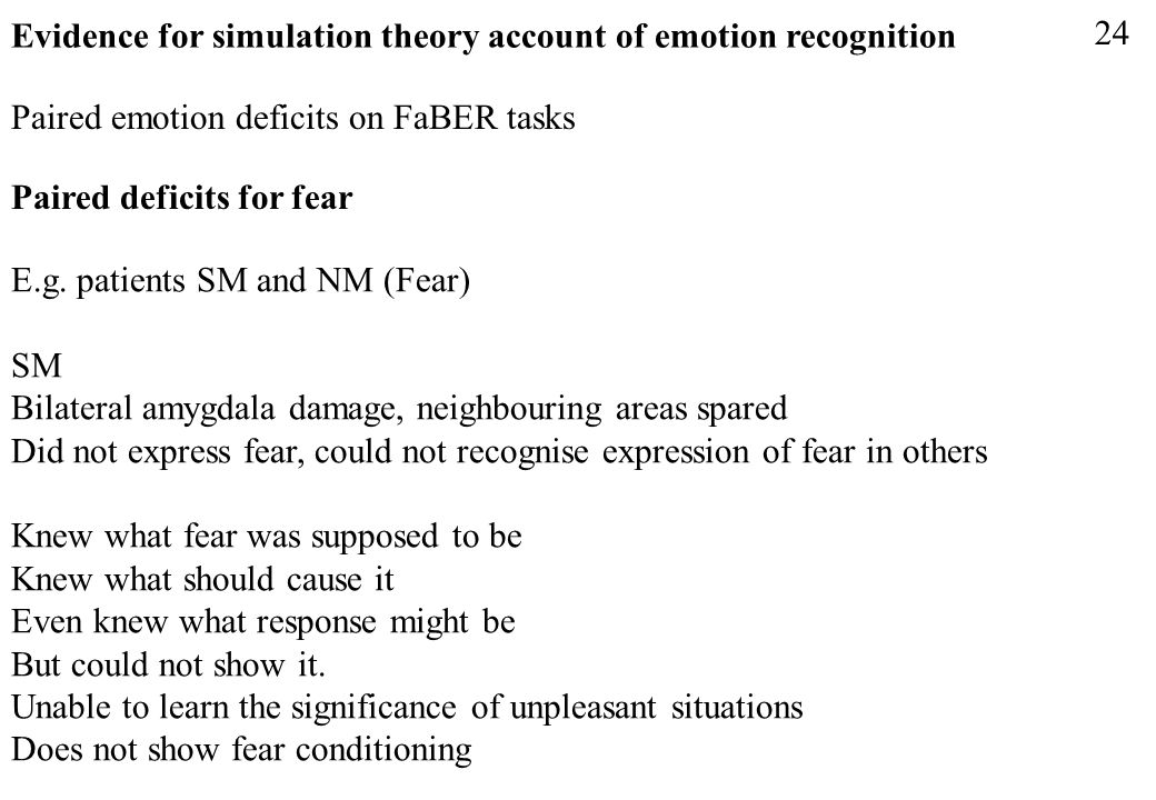 Evidence for simulation theory account of emotion recognition