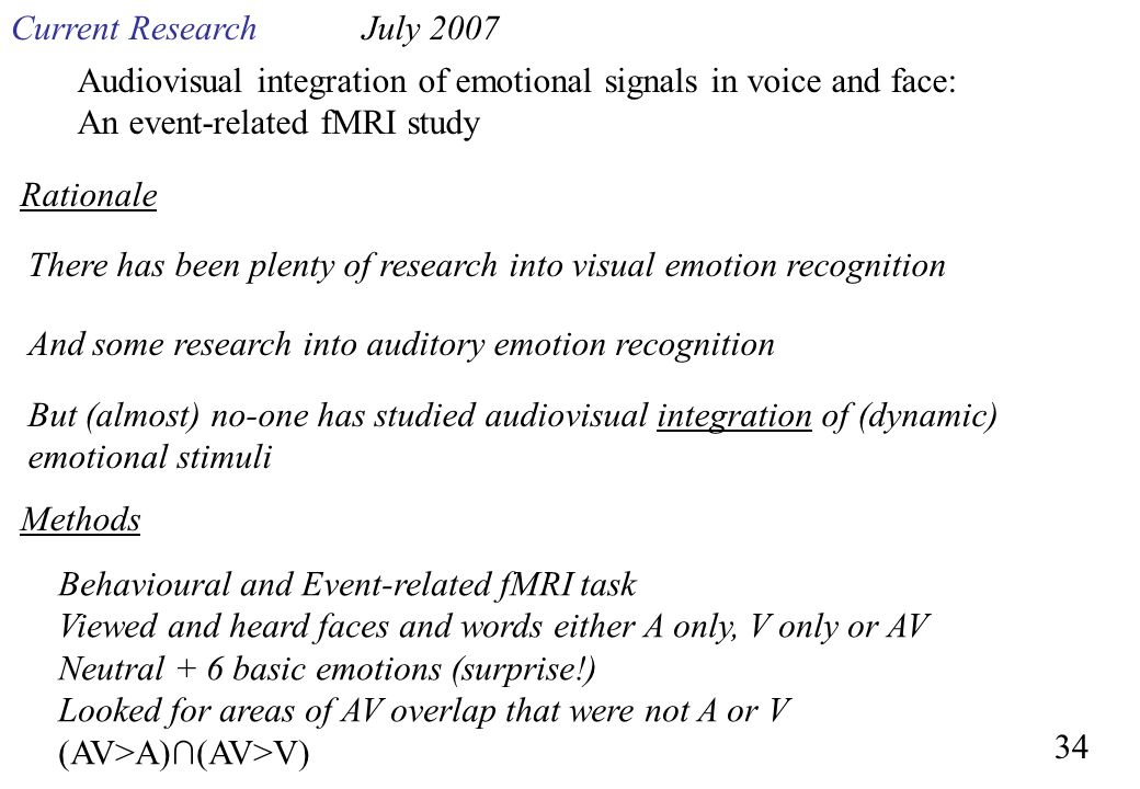 Current Research July 2007. Audiovisual integration of emotional signals in voice and face: An event-related fMRI study.