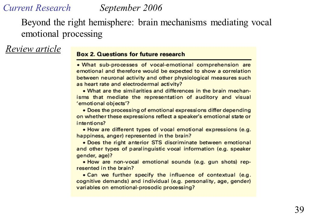 Current Research September 2006. Beyond the right hemisphere: brain mechanisms mediating vocal emotional processing.