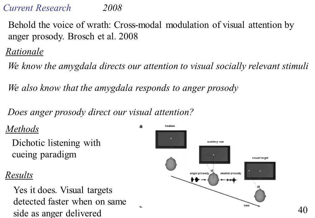Current Research 2008. Behold the voice of wrath: Cross-modal modulation of visual attention by anger prosody. Brosch et al. 2008.