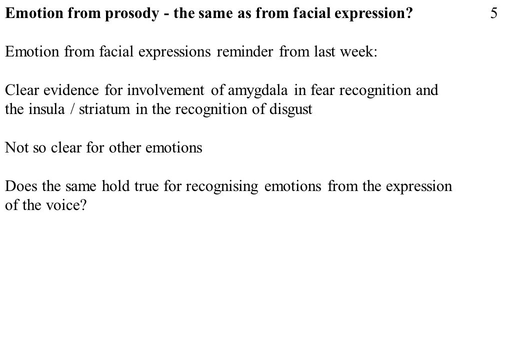 Emotion from prosody - the same as from facial expression