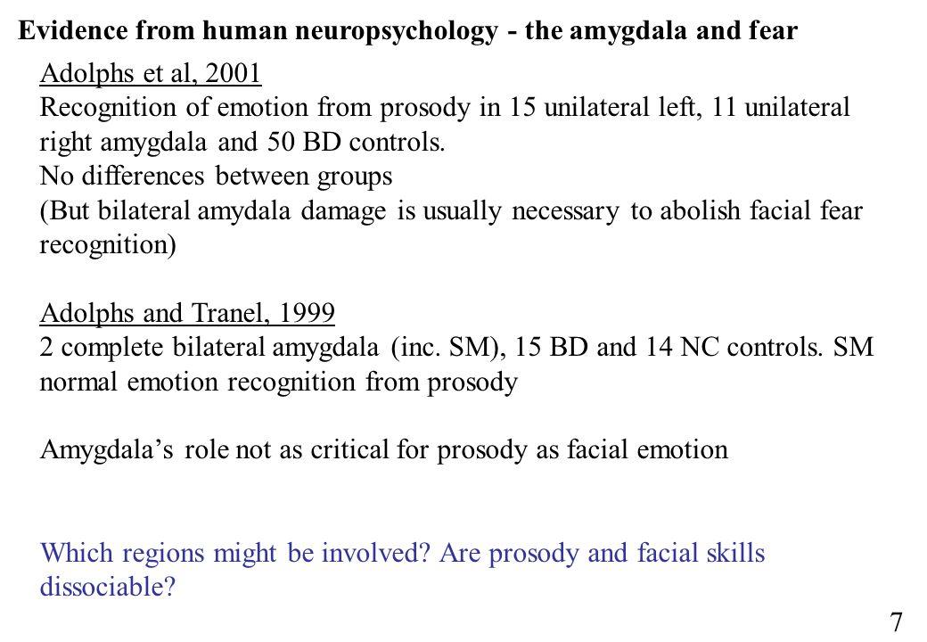 Evidence from human neuropsychology - the amygdala and fear