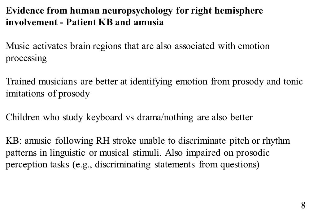 Evidence from human neuropsychology for right hemisphere involvement - Patient KB and amusia
