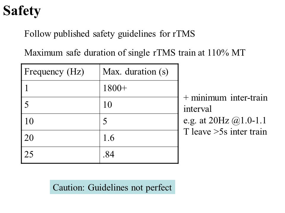 Safety Follow published safety guidelines for rTMS